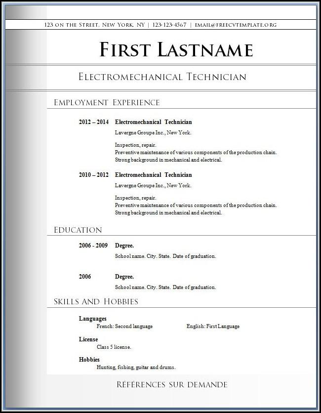 Free Resume Layout