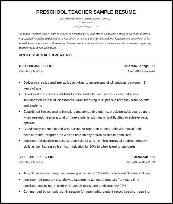 Free Teacher Resume Templates Microsoft Word