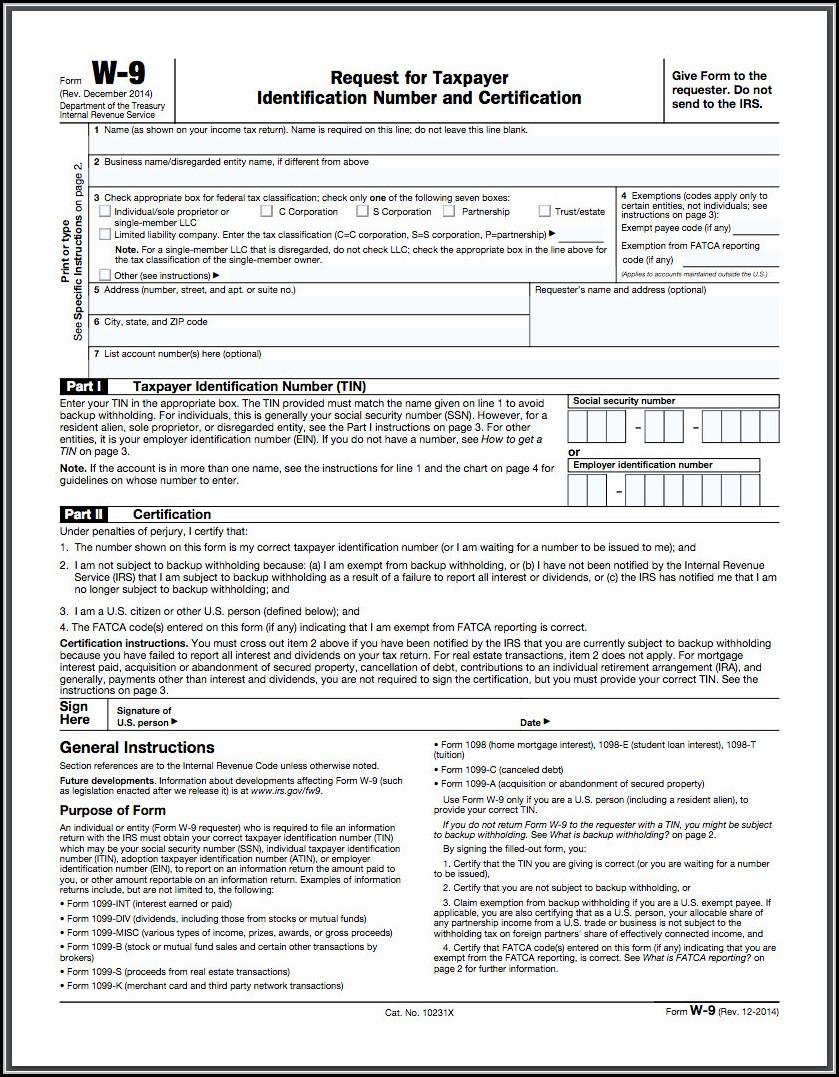 Free W 9 Form 2018