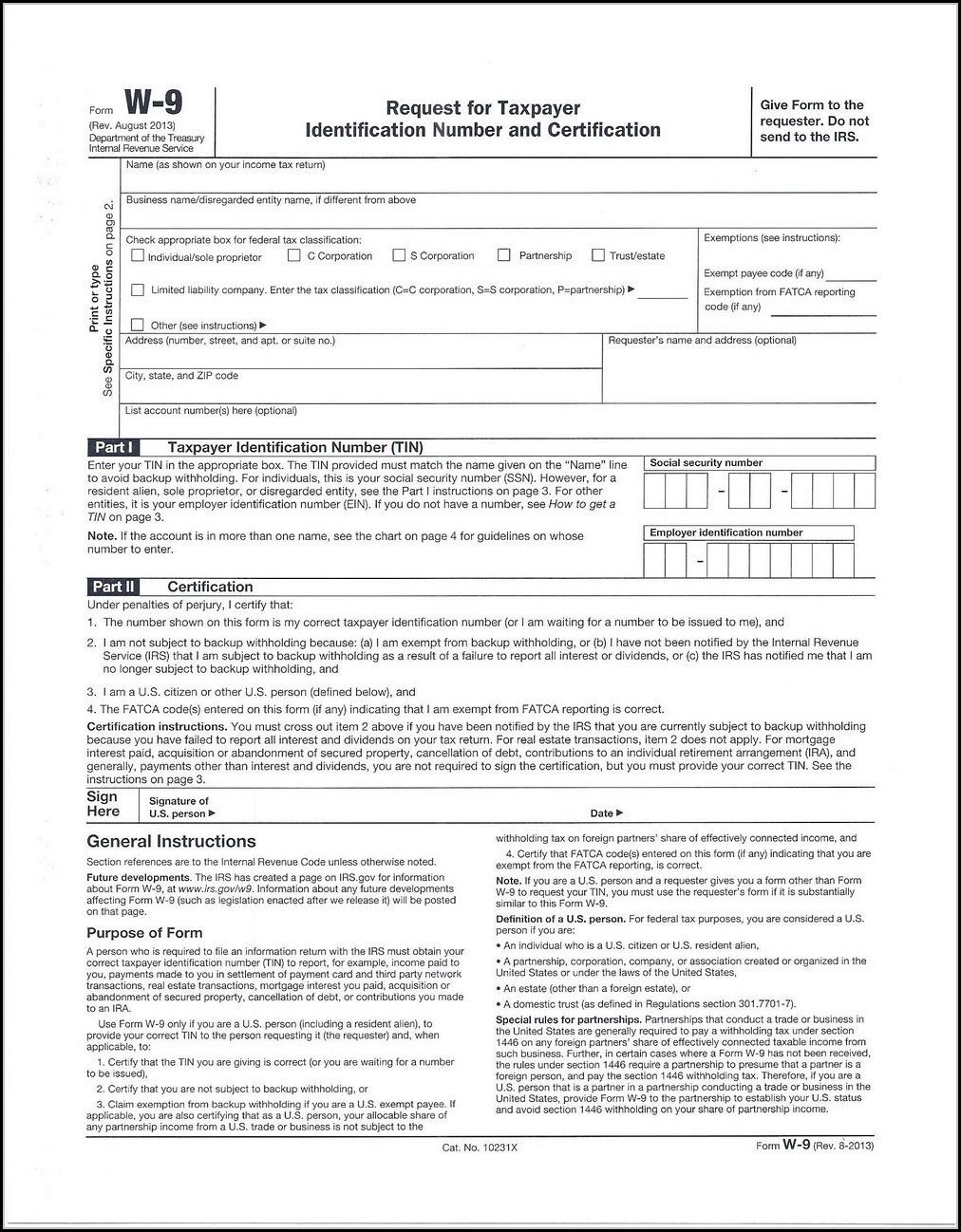 Free W9 Form