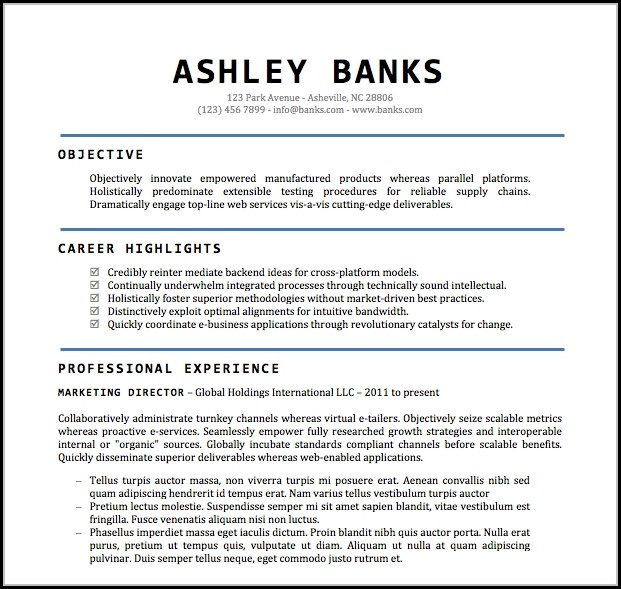 Free Word Document Resume Templates