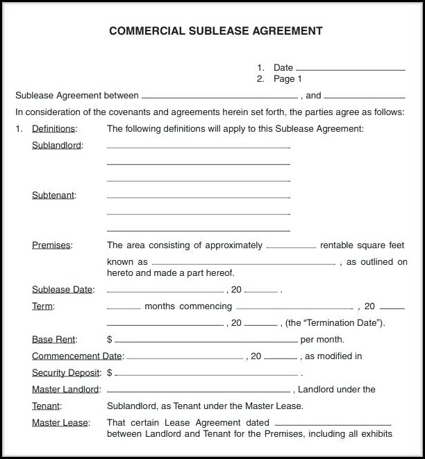 Garage Storage Lease Agreement Form Free