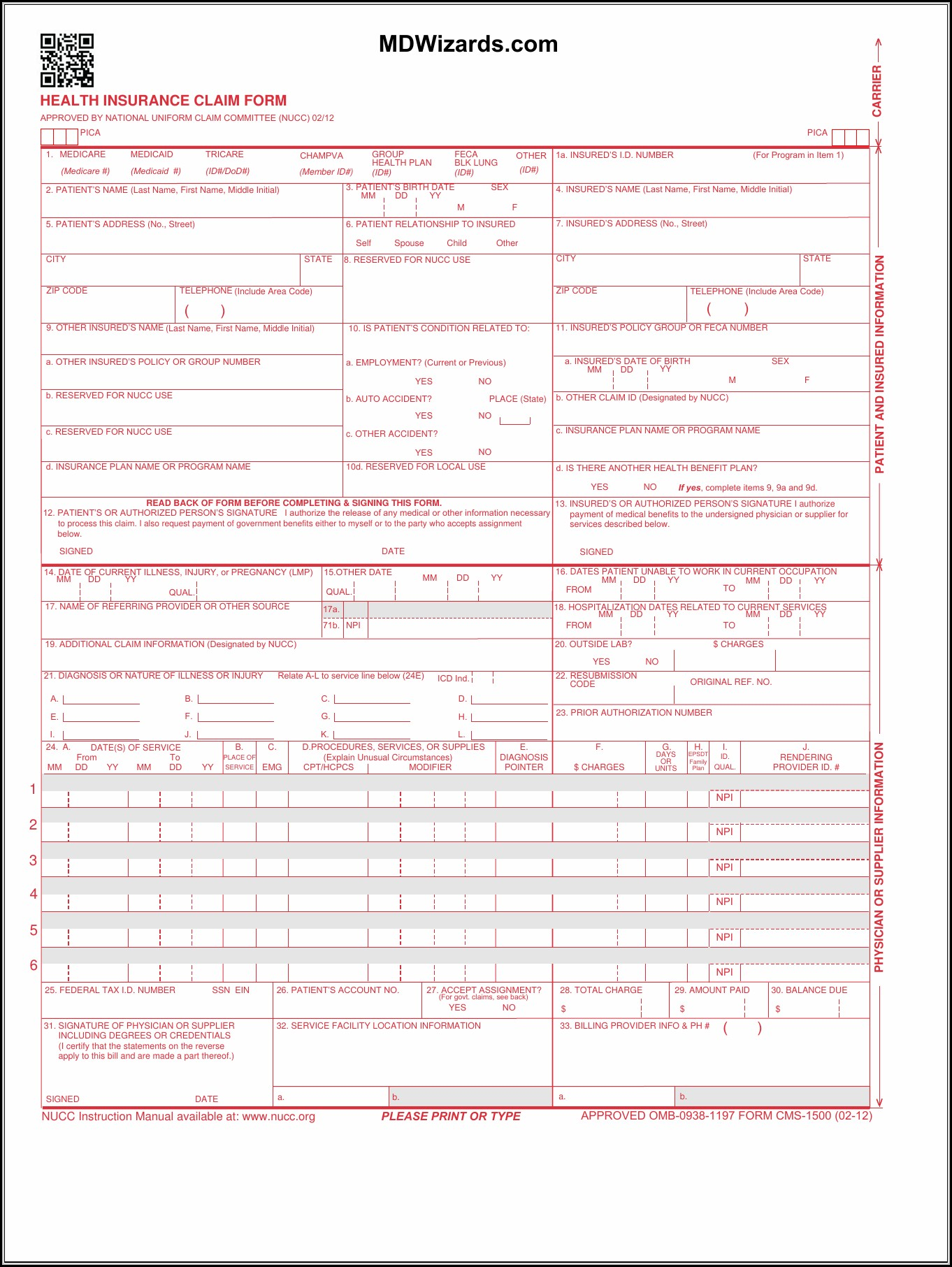 Hcfa 1500 Form Pdf Fillable