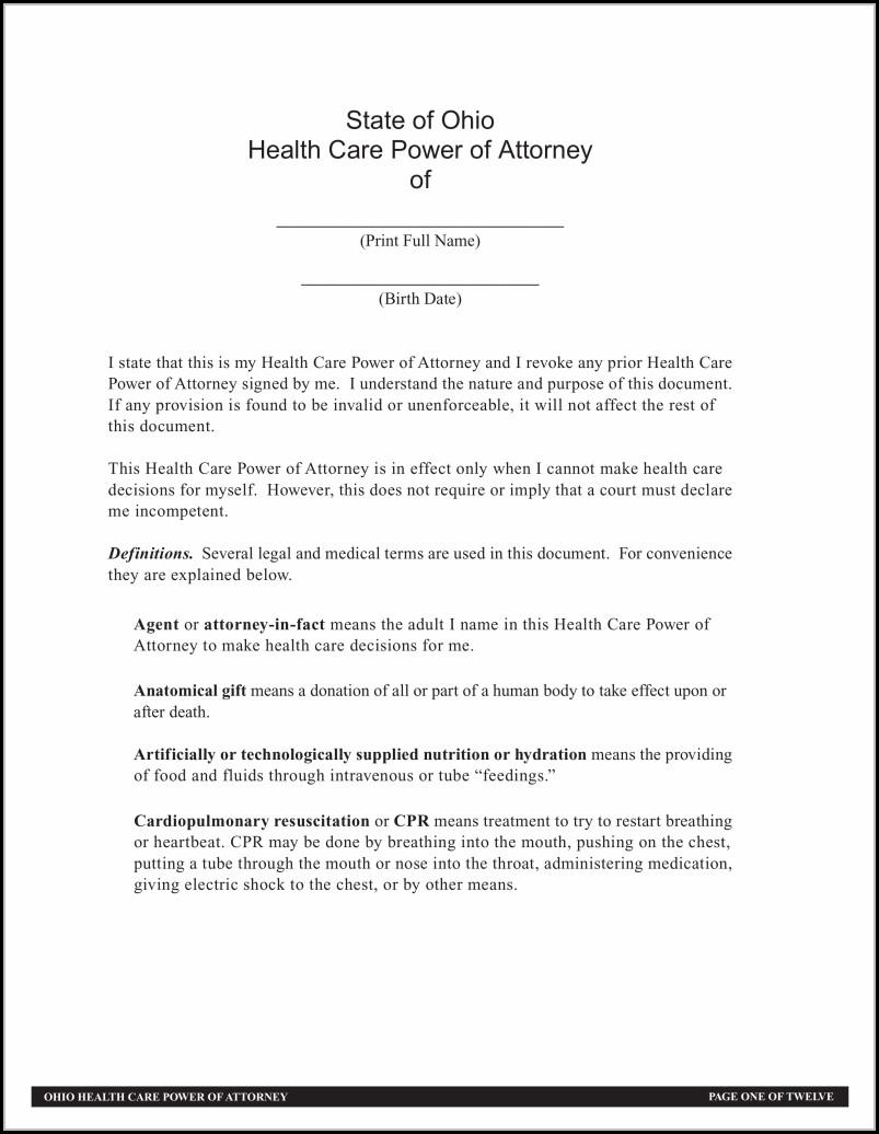 Health Care Power Of Attorney Form Ohio