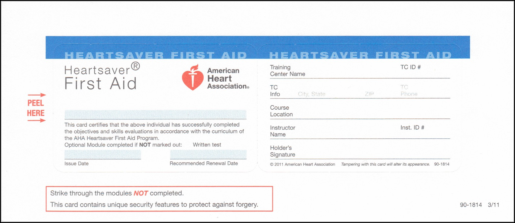 Heartsaver First Aid Cpr Aed Card Template
