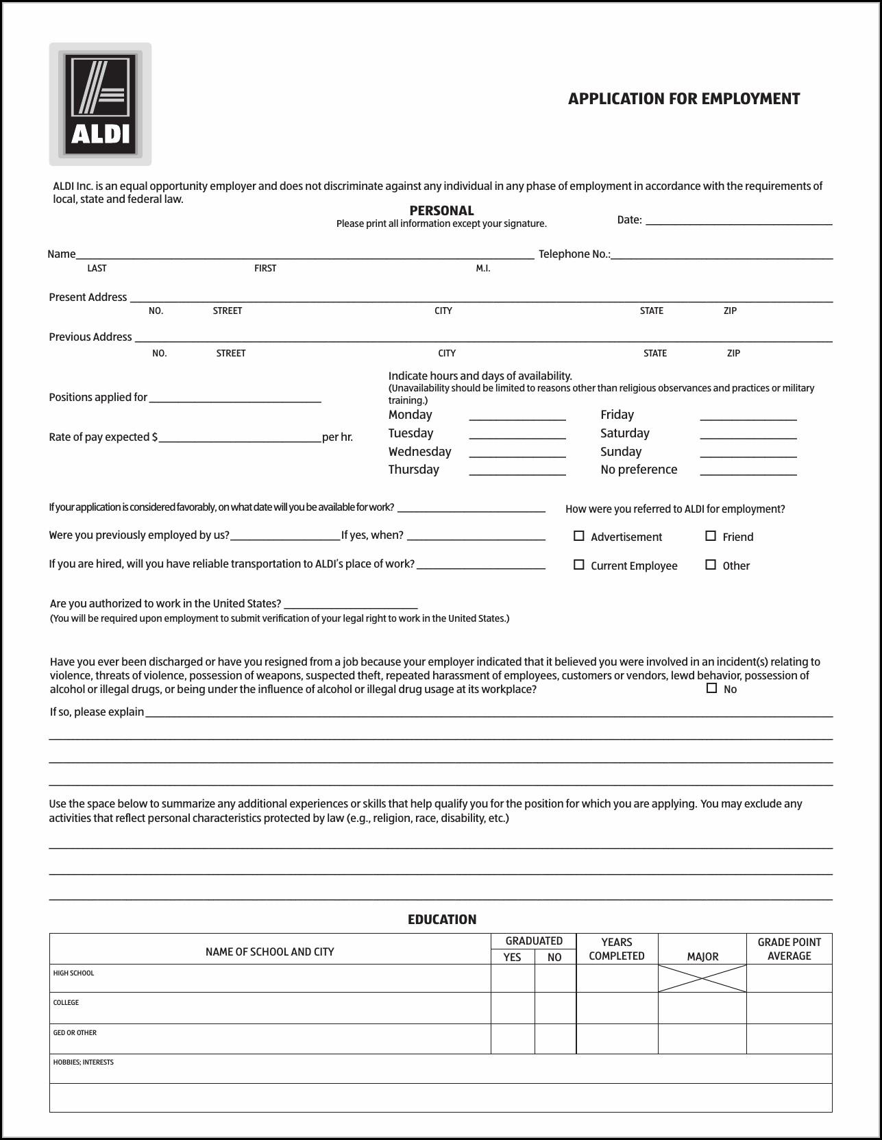 Job Application Aldi