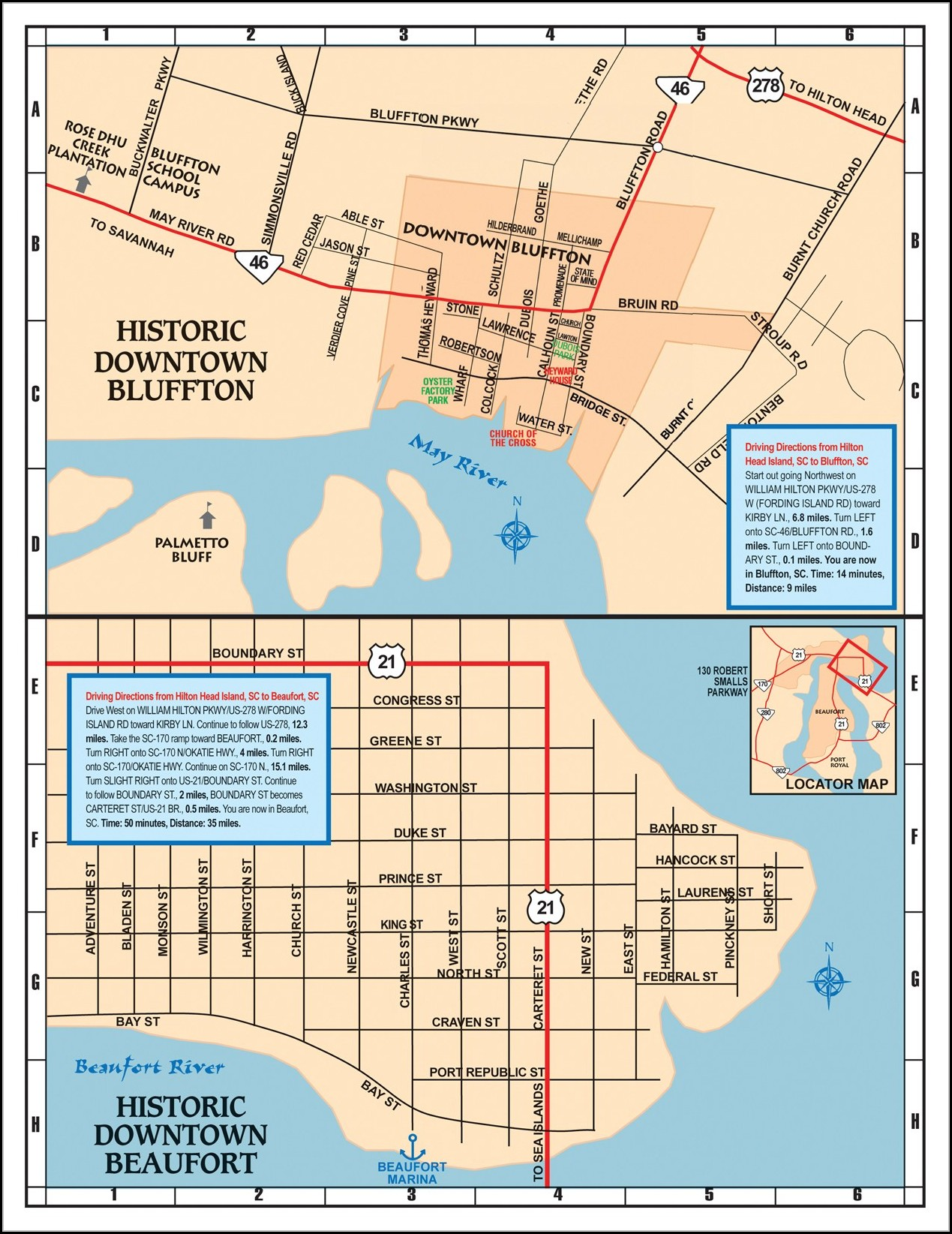 Map Of Downtown Beaufort Sc
