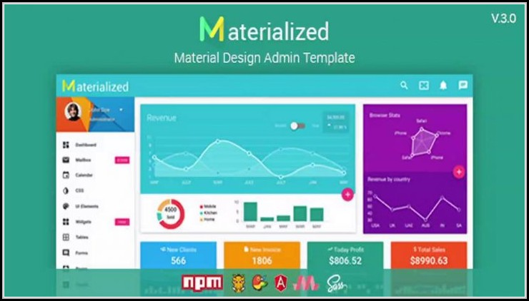 Materialize Dashboard Template Free