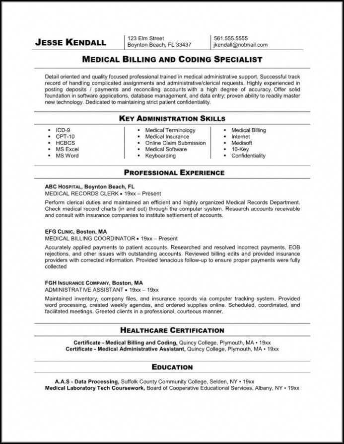Medical Biller Resume Sample