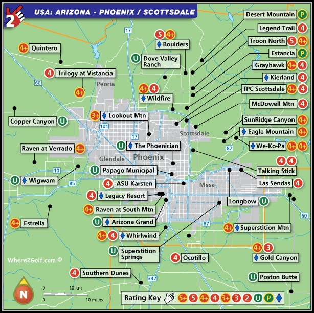 Phoenix Golf Courses Map