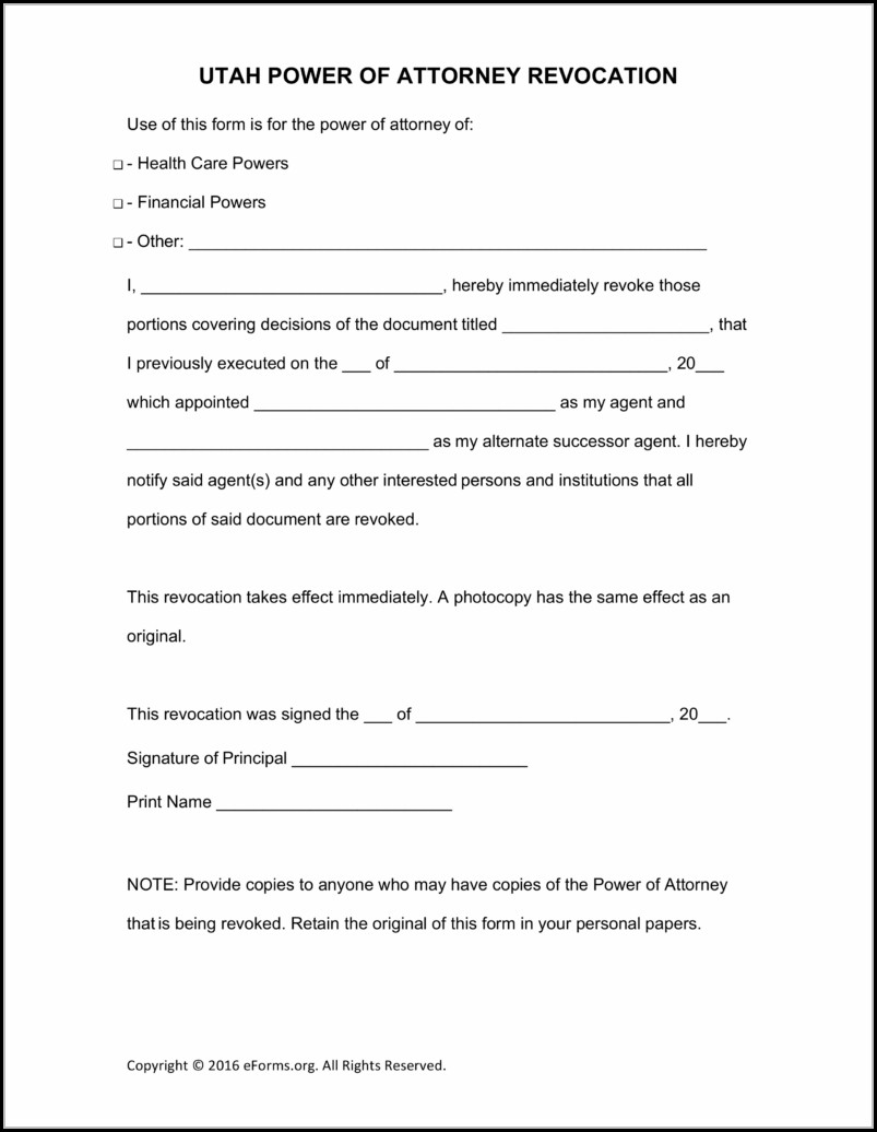 Power Of Attorney Form Utah Pdf
