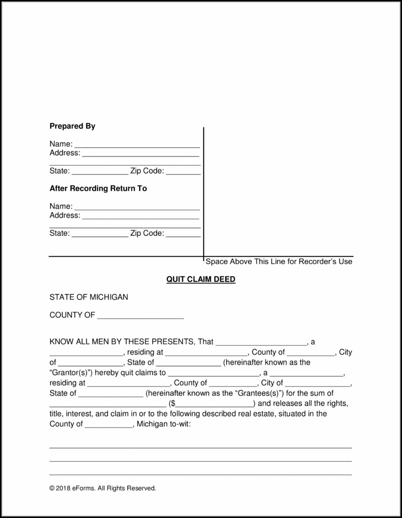 Quit Claim Deed Form Michigan Pdf
