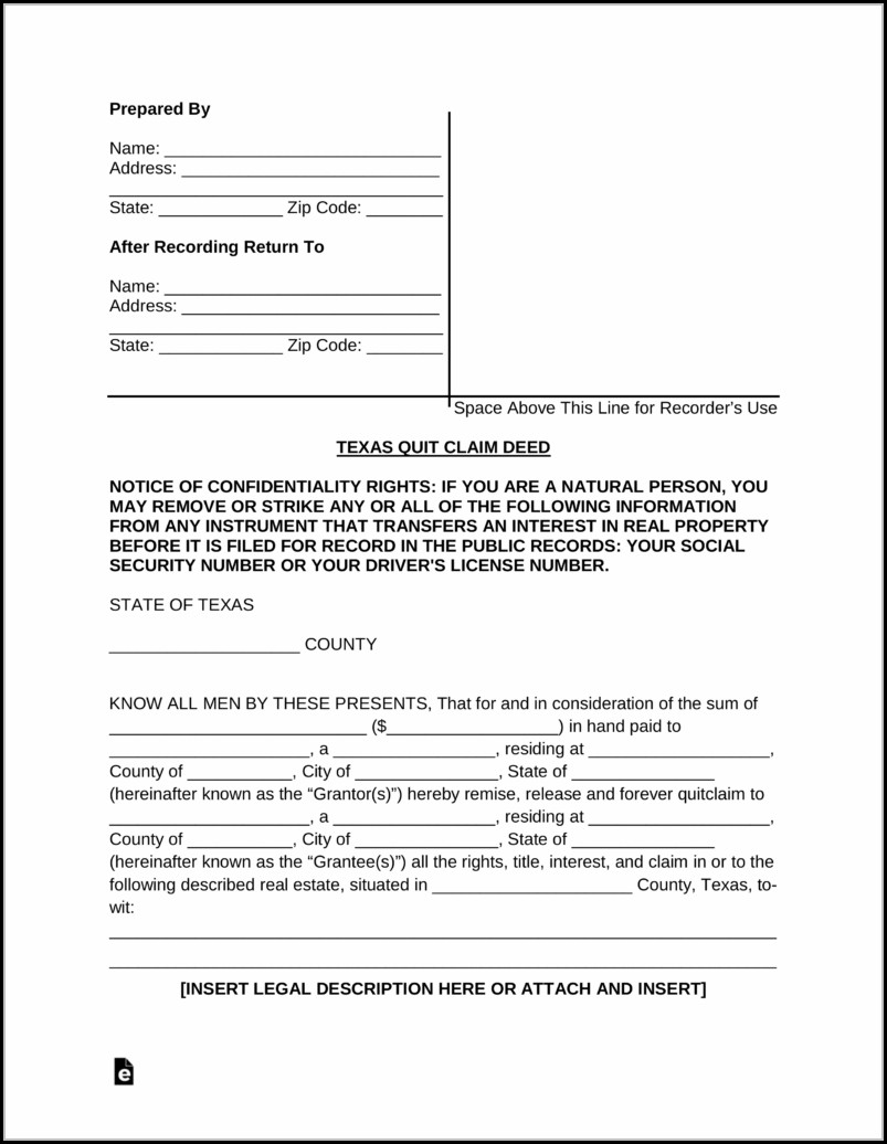 Quit Claim Deed Form Texas Pdf