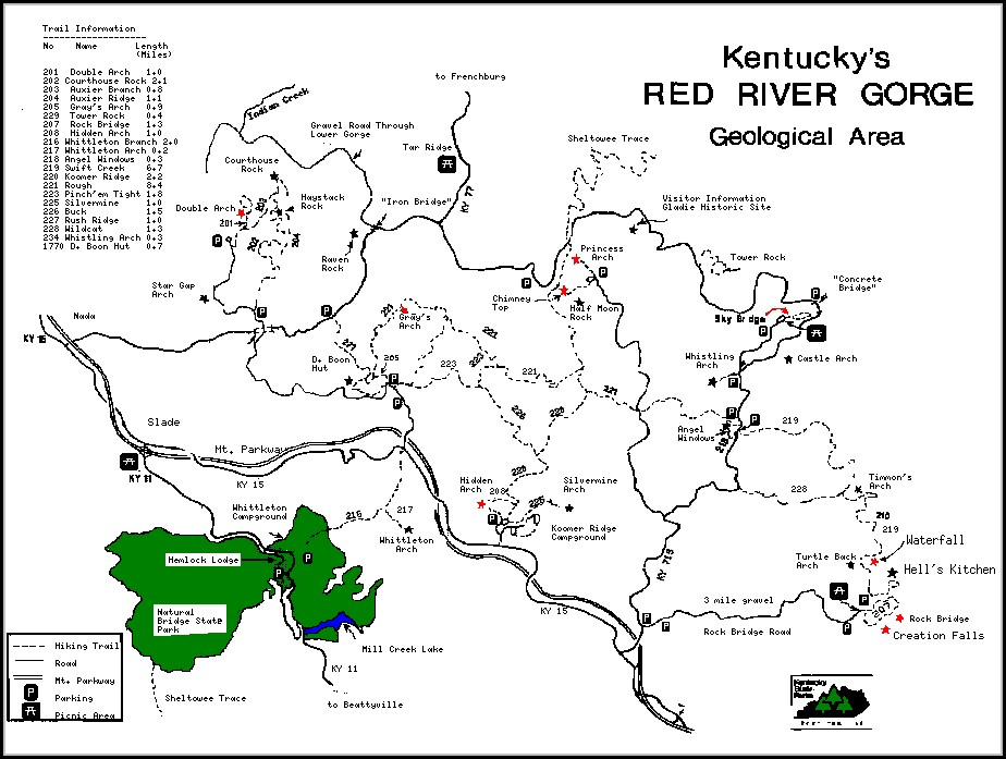 Red River Gorge Hiking Trail Map