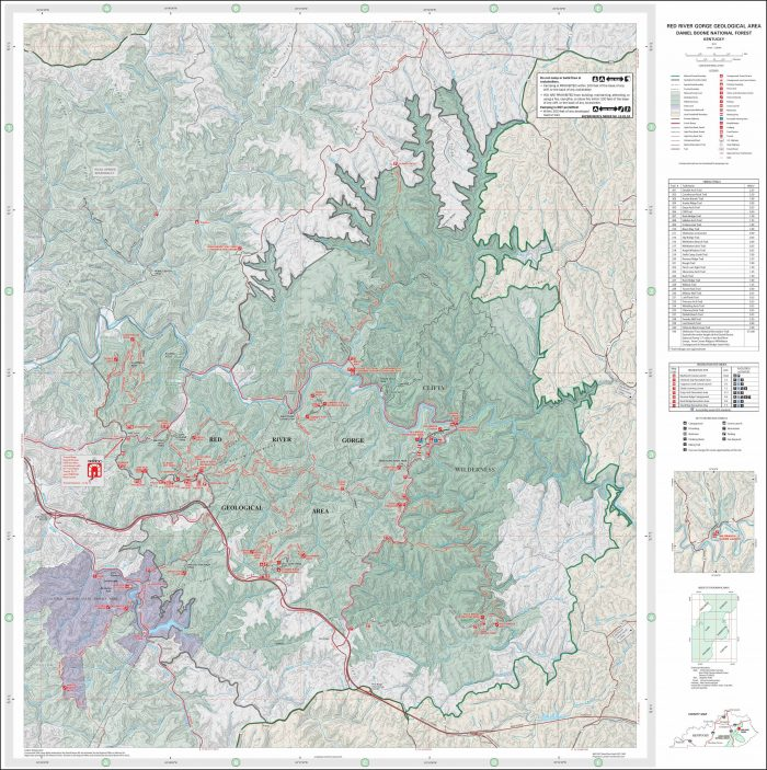 Red River Gorge Trail Map Topo