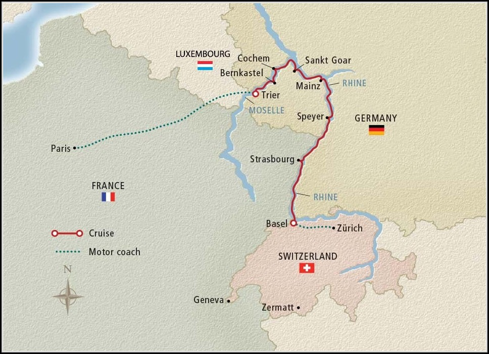 Rhine River Day Cruise Map