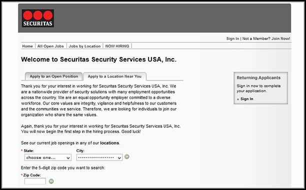 Securitas Job Application Online