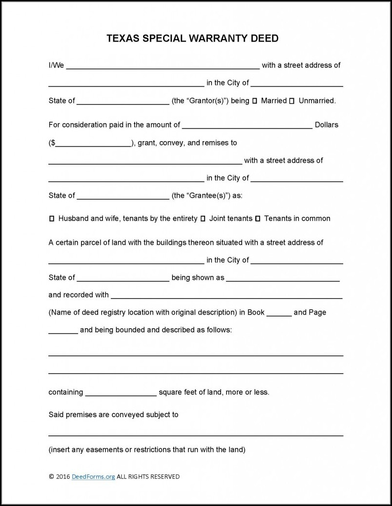 Special Warranty Deed Texas Form