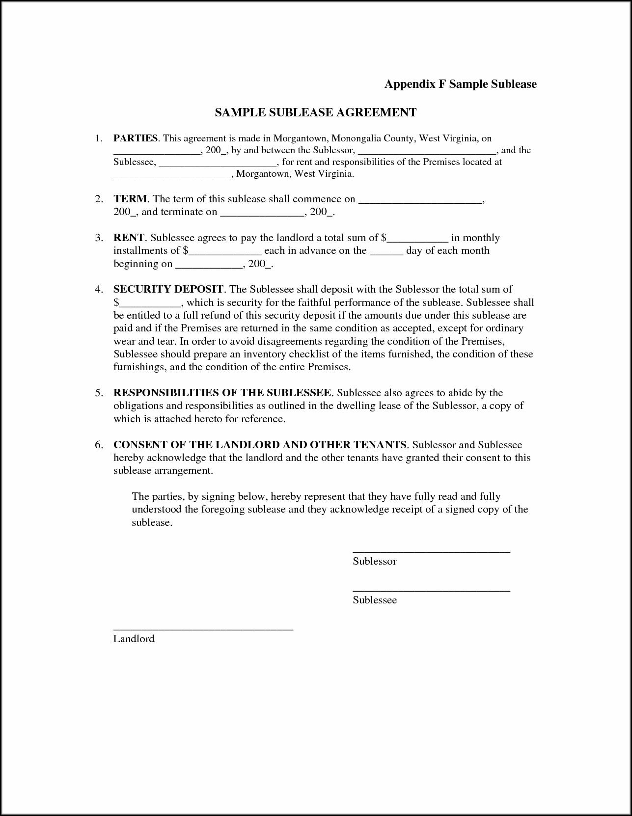 Sublease Agreement Format India