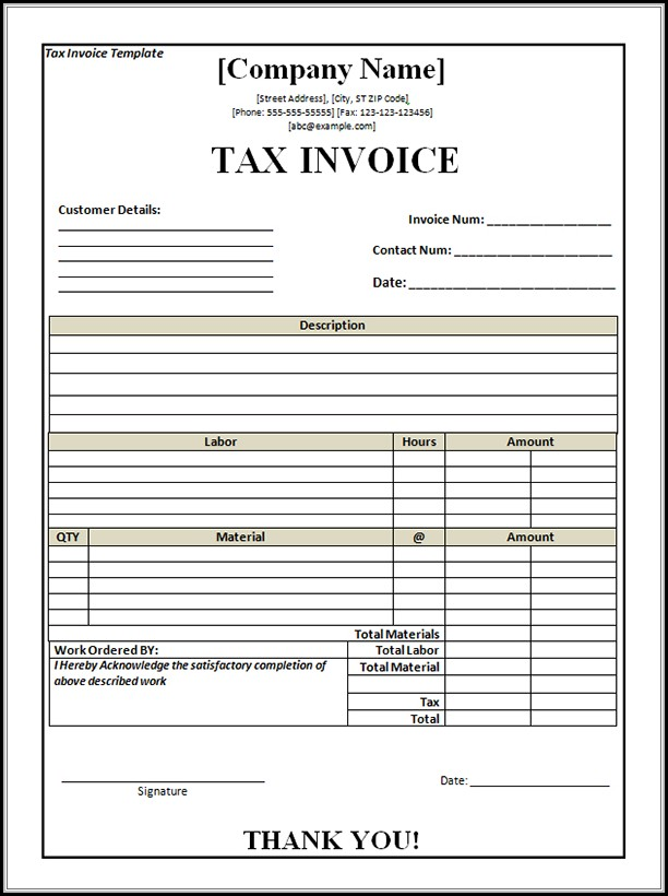 Tax Invoice Blank Format