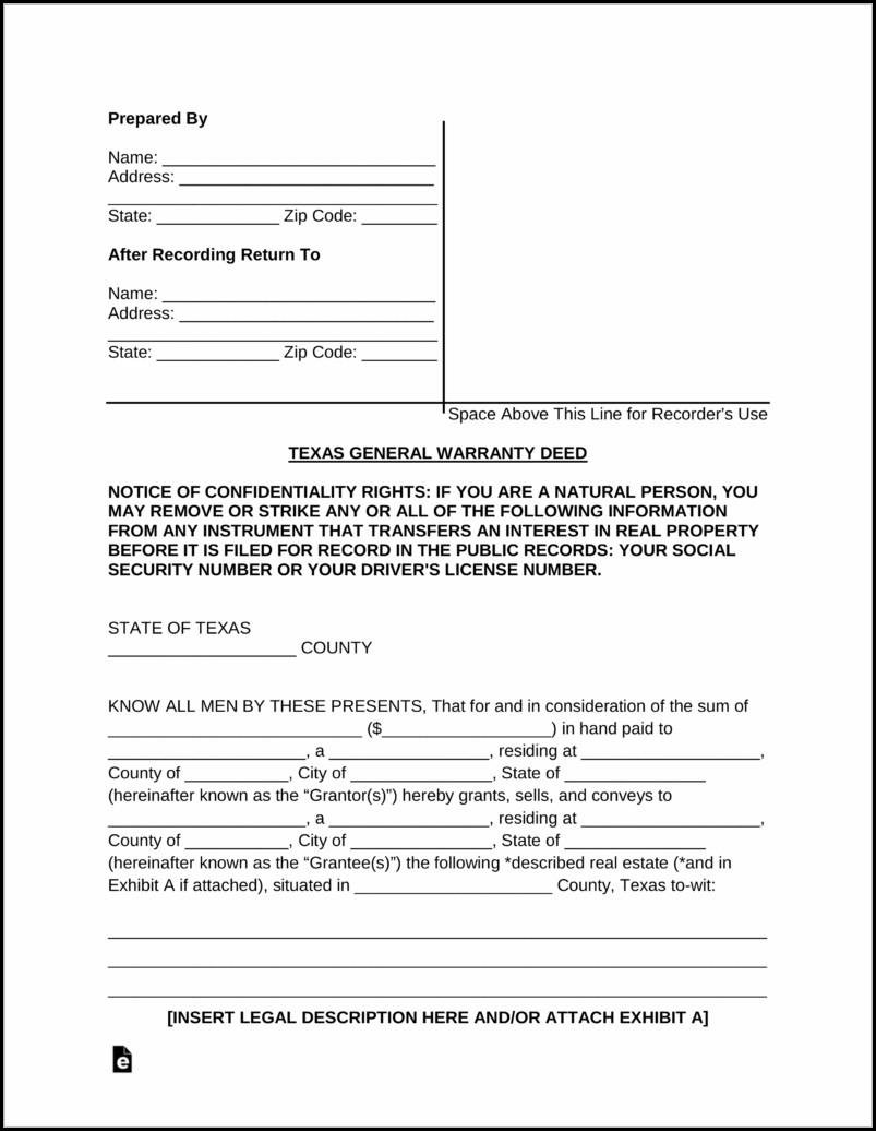 Texas General Warranty Deed Form Pdf