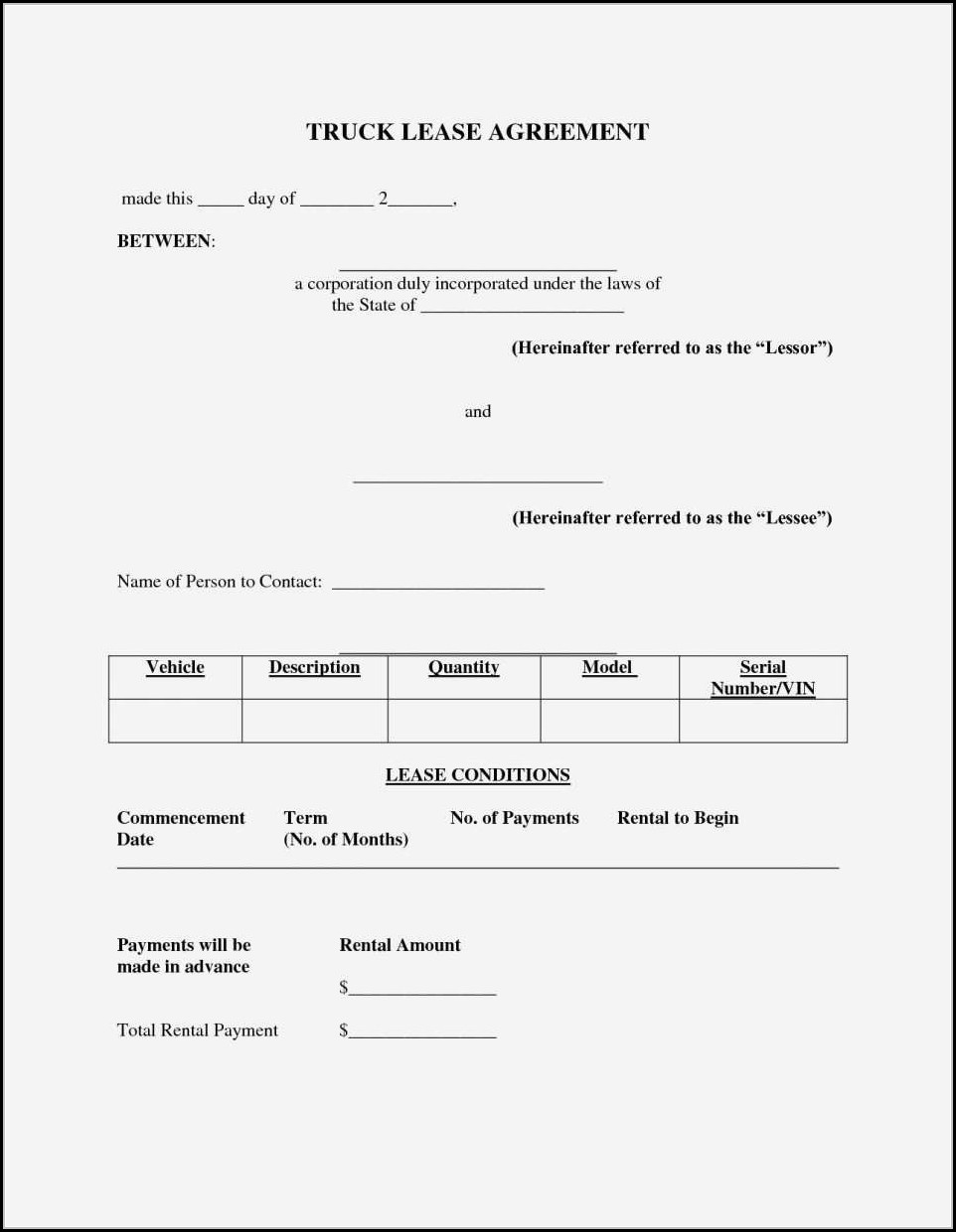 Truck Lease Agreement Template Free