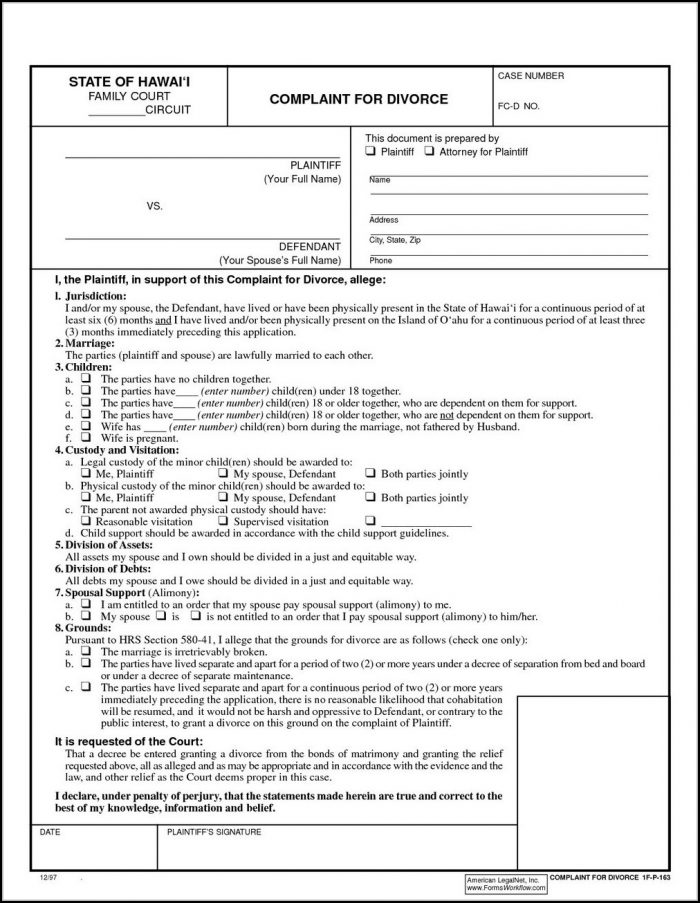 Uncontested Divorce Forms Ny Pdf