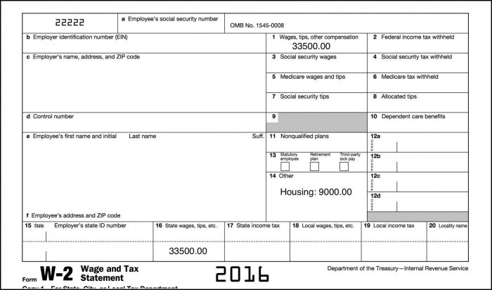 W2 Fillable Form 2016