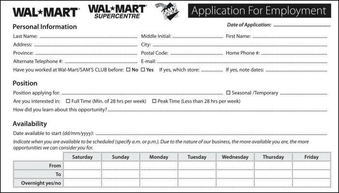 Walmart Stores Job Application