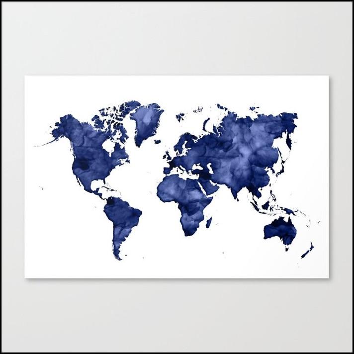 Watercolor World Map Print