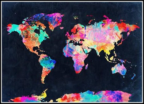 Watercolor World Map Wallpaper