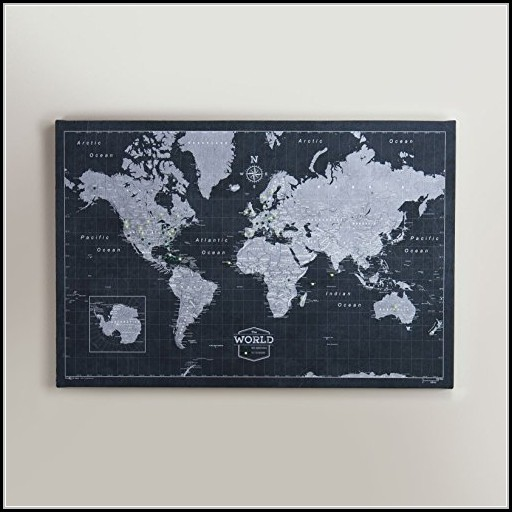 World Travel Map Pin Board Modern Slate