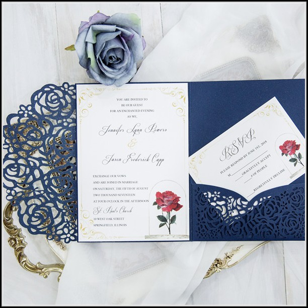 Beauty And The Beast Wedding Invitation Template Free