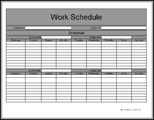 Bi Weekly Employee Schedule Template Free