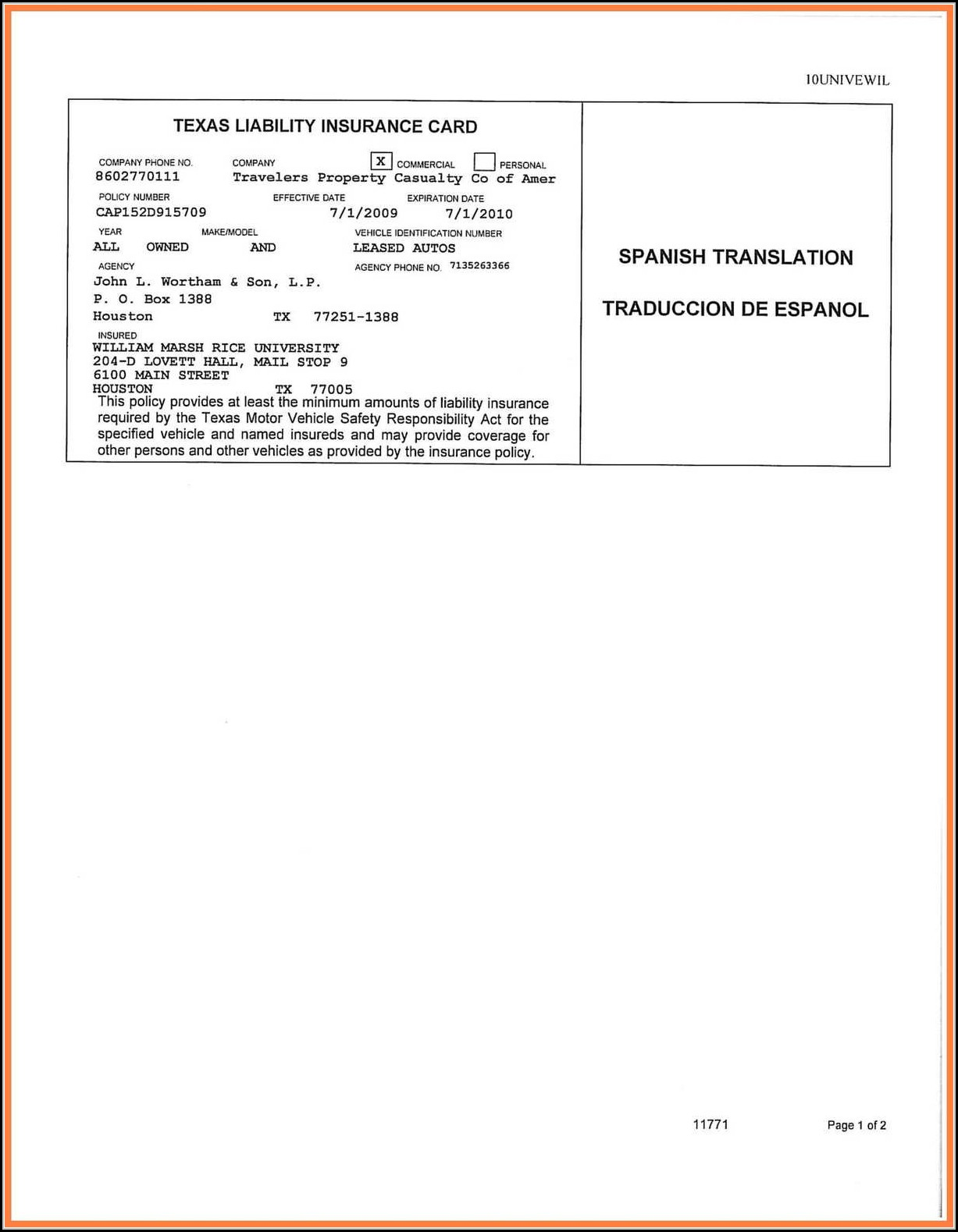 Blank Auto Insurance Card Template