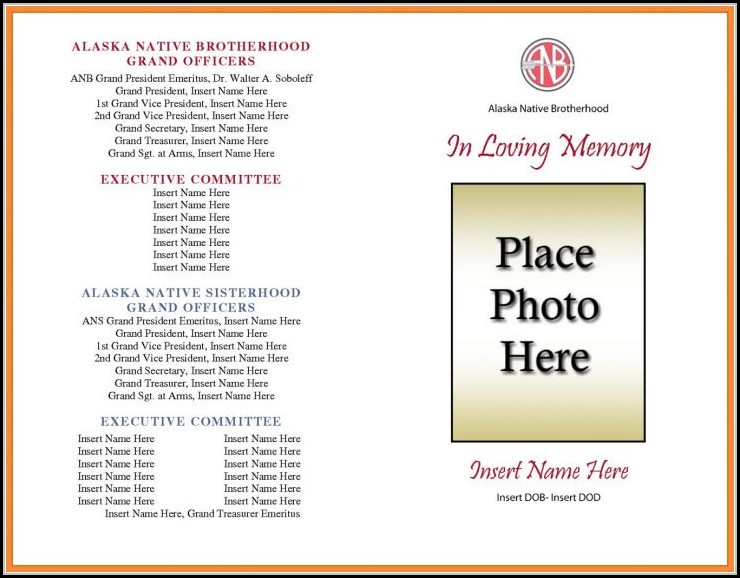 Blank Funeral Program Template Free