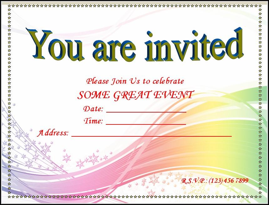 Blank Invitation Templates Free Word