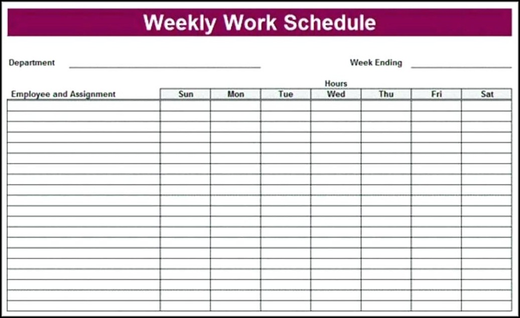Blank Monthly Work Schedule Template