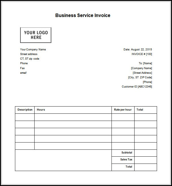 Business Invoice Receipt Template