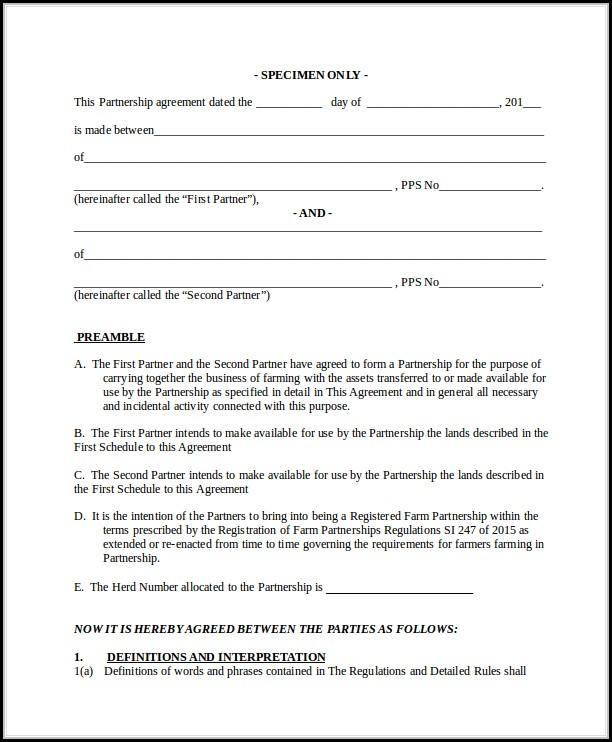 Business Partnership Agreement Template Pdf