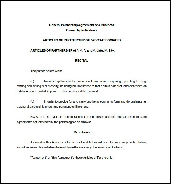 Business Partnership Agreement Template Word