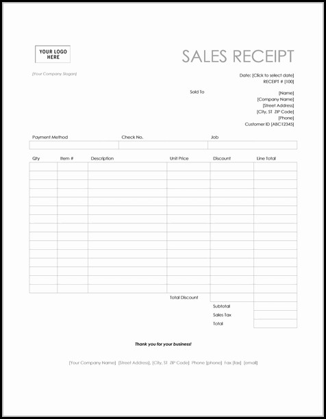 Business Receipt Template Microsoft Word