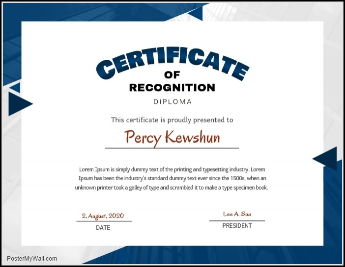 Certificate Of Recognition Template Design