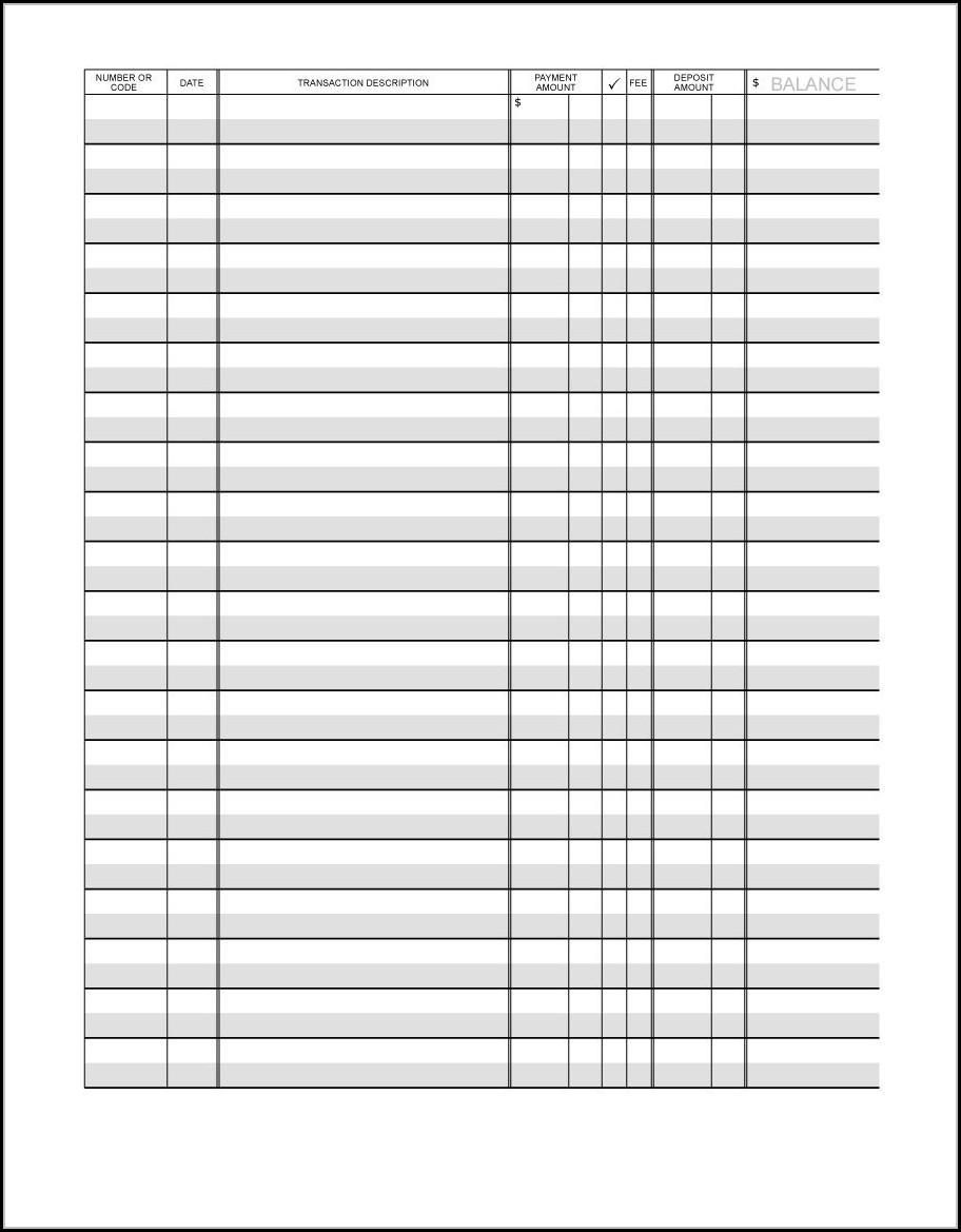 Checkbook Register Template Printable Free