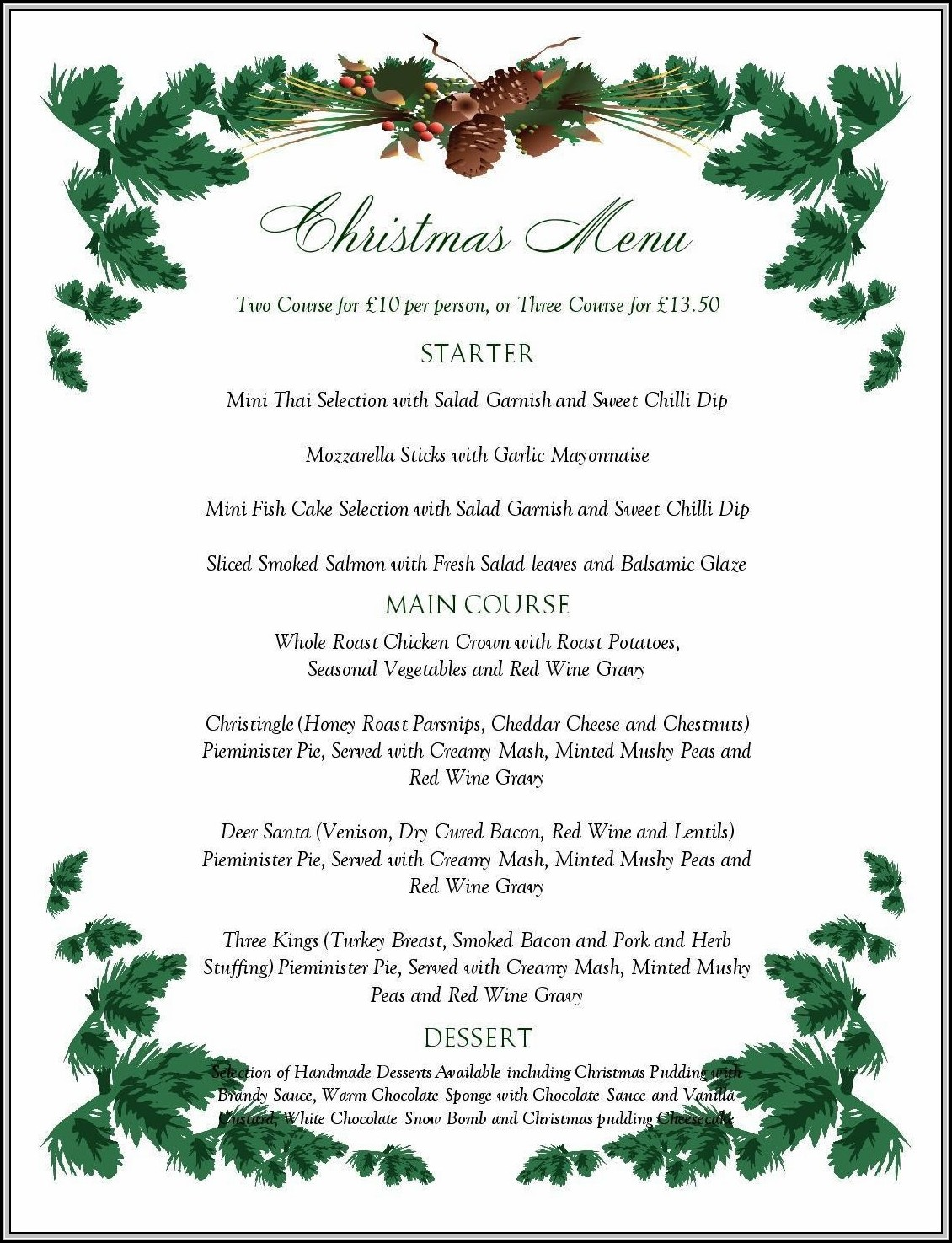 Christmas Menu Design Templates Free