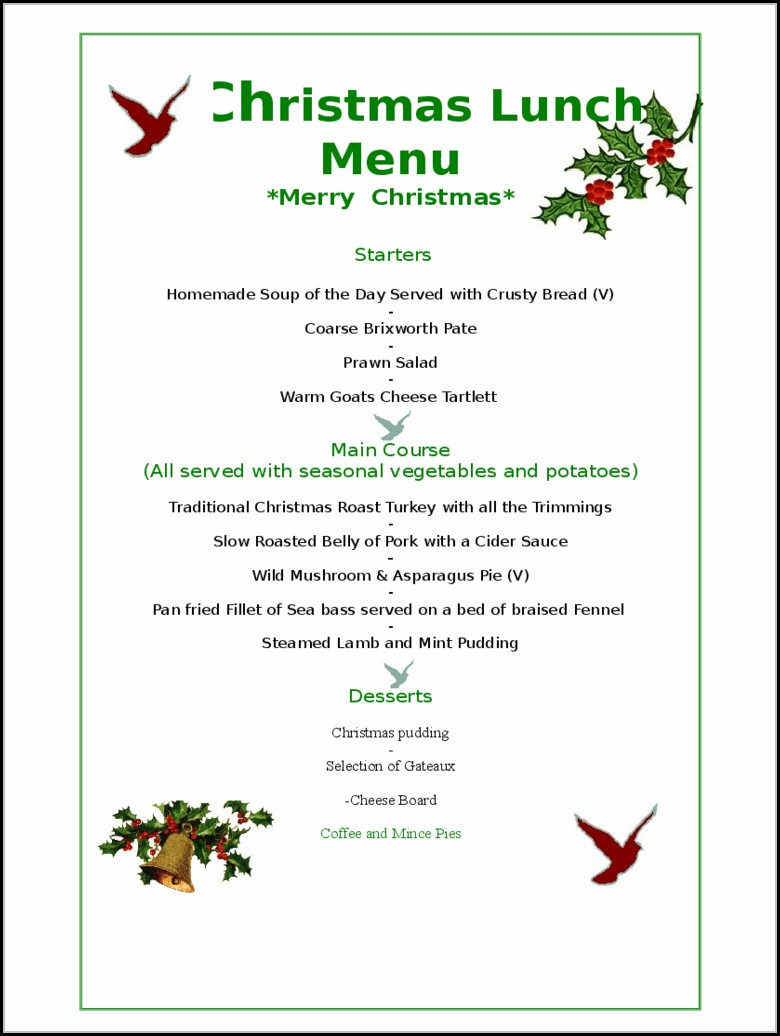 Christmas Menu Templates Free Download Word