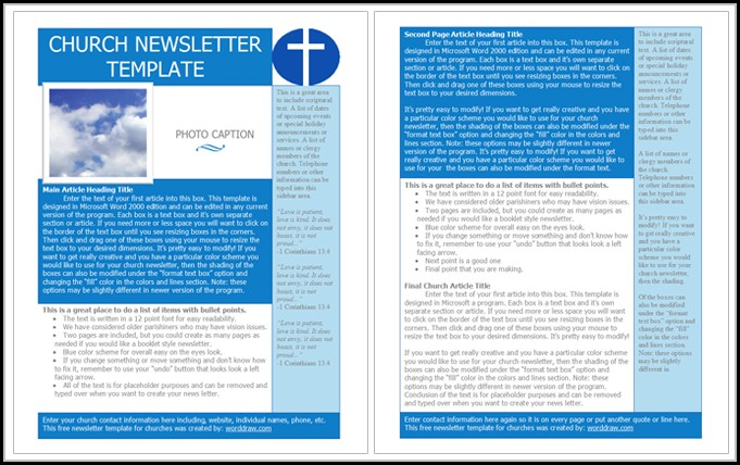 Church Newsletter Templates Free