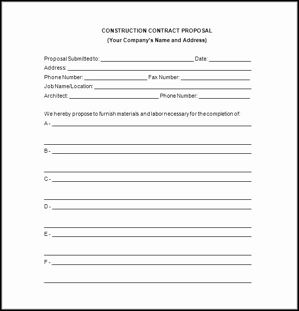 Construction Bid Template Pdf