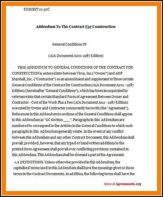 Construction Contract Addendum Template