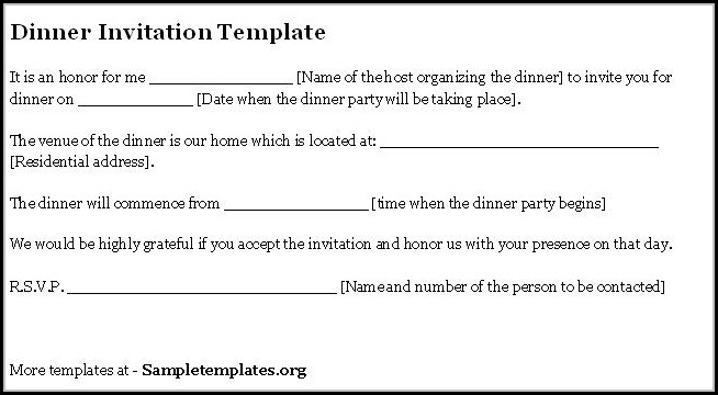 Dinner Invitation Template Email